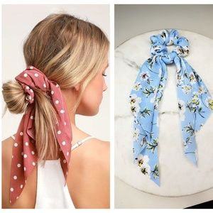 5 for $25 Blue and White Hair Scarf Scrunchies